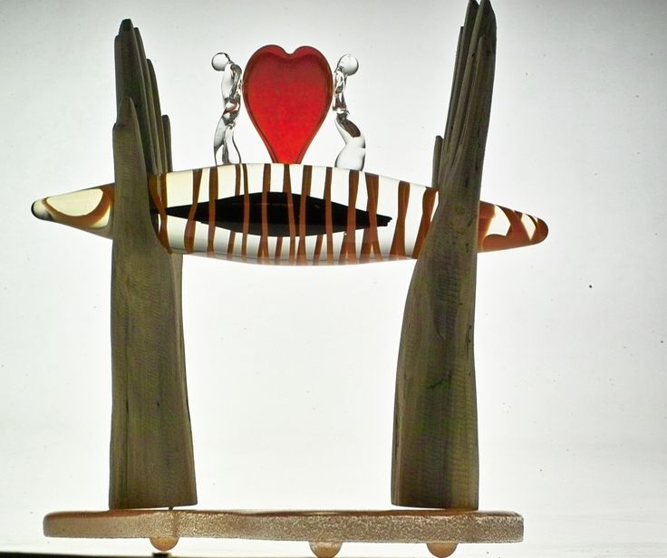 Glass and wood sculpture by Red Hot Glass, contemporary glassblowing studio