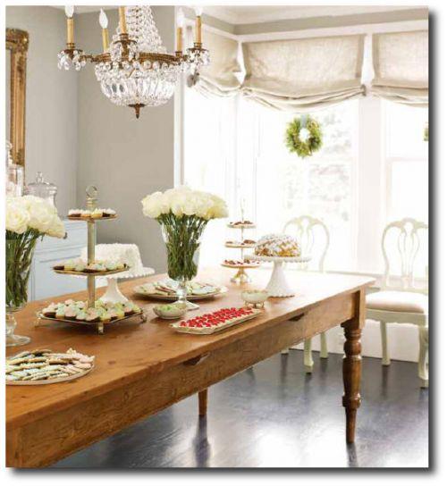 Like The Farmhouse Table With A Crystal Chandelier, Via