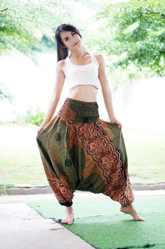 Plus Size broek groene olijf Harem Thaise broek Rayon broek