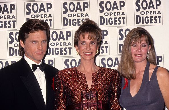 Actor Leigh McCloskey actress Jess Walton and actress Lynn Herring attend the 10th Annual Soap Opera Digest Awards on February 4 1994 at the Beverly...