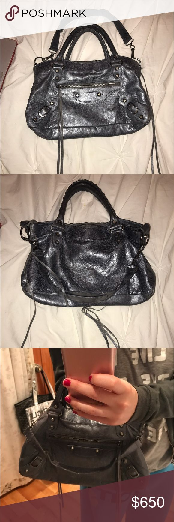 Balenciaga First Small Leather Shoulder Bag First Small Leather Shoulder Bag in metallic grey cracked leather with silver hardware. Features a removable shoulder strap. Measures 13in Wide X 7.75in High X 2in Deep. Balenciaga Bags Shoulder Bags