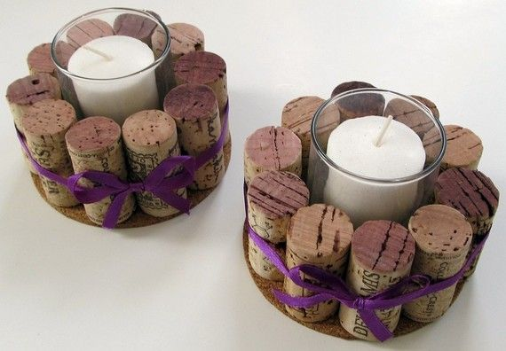Wine Cork Votive Holders with Purple Ribbon-Set of Two