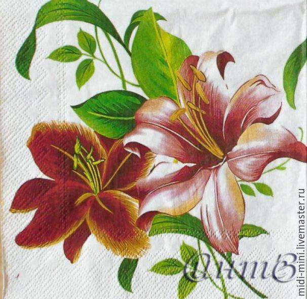Купить салфетки декупаж цветы лилии принт - салфетки, Декупаж, оформление подарка, салфетка для декупажа