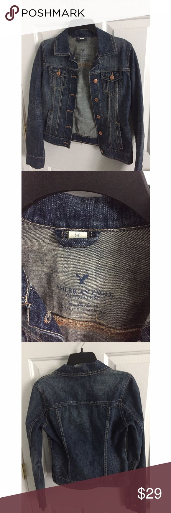 American Eagle Outfitters Jean Denim Jacket Only worn once! Dark denim jacket great for spring American Eagle Outfitters Jackets & Coats Jean Jackets