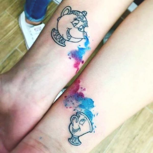 WATER COLOR MOTHER DAUGHTER TATTOO DESIGN | Mother Daughter Tattoos | 45 Soulful Mother Daughter Tattoos To Feel That Bond | Fenzyme.com