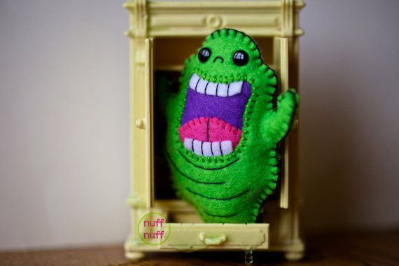Felt Slimer  Ghostbusters  Pocket Plush Toy by nuffnufftoys, $13.00