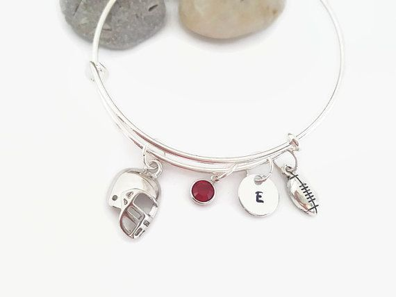 Football bangle  Football bracelet  Football mom by CulturedCurio