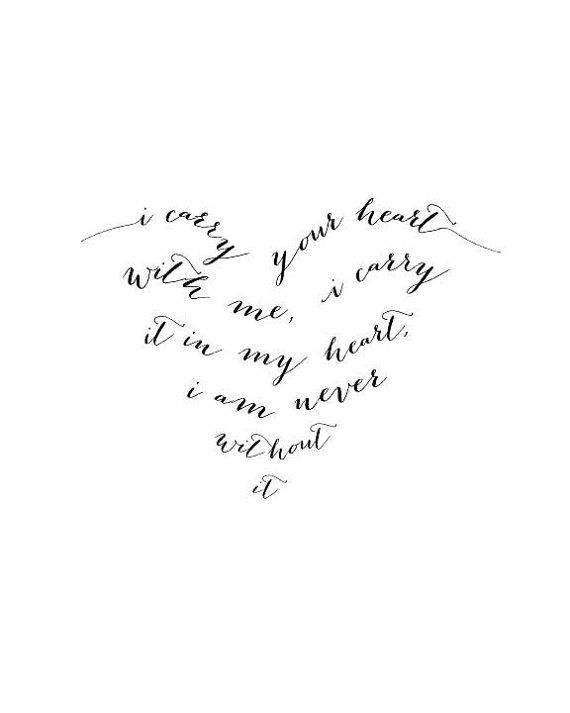 E. E. Cummings I Carry Your Heart With Me typography print in the shape of a heart by YSMPaper