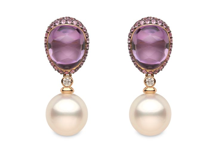 Yoko London 18kt rose gold earrings with 14-15mm South Sea pearls, 0.19ct diamonds, 18.41cts amethyst and 4.09cts pink sapphires.