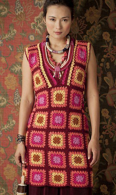 Granny Square Dress... Vestido con Bloques de la Abuela...