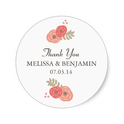 Cute floral wedding stickers to seal thank you cards http www zazzle