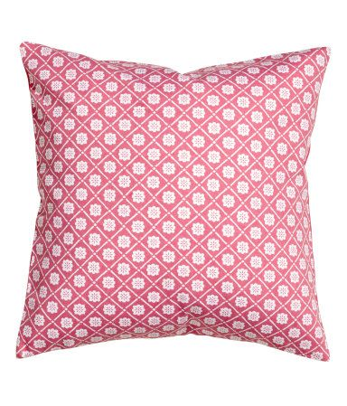 Cushion Cover In Cotton Twill With A Print Pattern On The Front, Solid  Colour Backing And Concealed Zip.