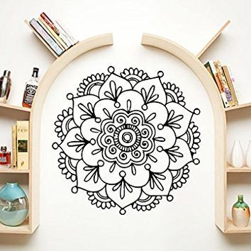 Mandala Wall Decal Namaste Indian Lotus Flower Yoga Ornament Geometric Moroccan Pattern Wall Vinyl Decals Sticker Home Decor Mural Design Graphic Bedroom (6104)