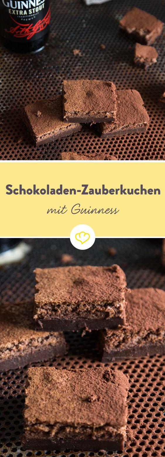 Kuchen á la Harry Potter: 1 simpler Schokoladenteig mit Guinness kommt in den Backofen und hex, hex ein köstlicher Kuchen mit 3 Schichten kommt heraus.