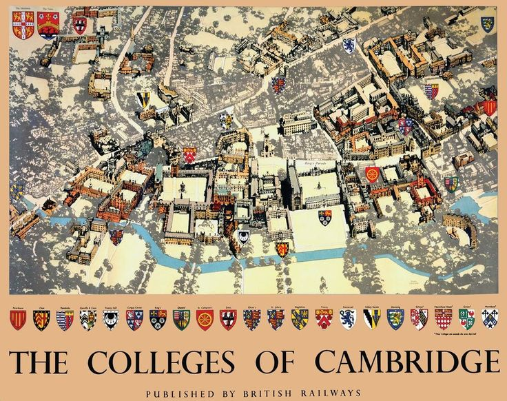 The Colleges of Cambridge The Famous College map of Cambridge in all its Academic and Heraldic Glory Issued in 1950 from an earlier painting Artwork by Fred Taylor.17