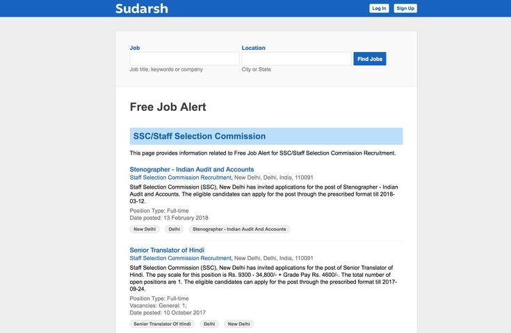Minimalist design for Free Job Alert - Sudarsh.com