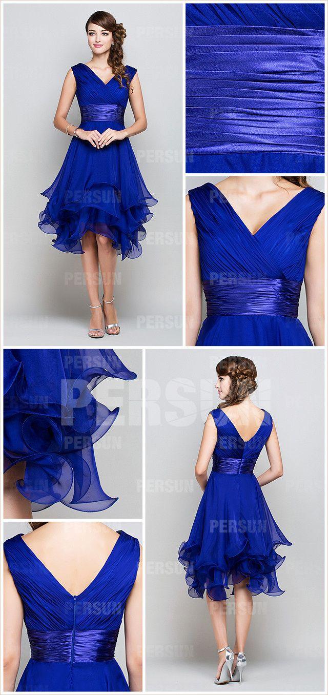 Femme robe de cocktail bleu royal col en v en mousseline - Persun.fr