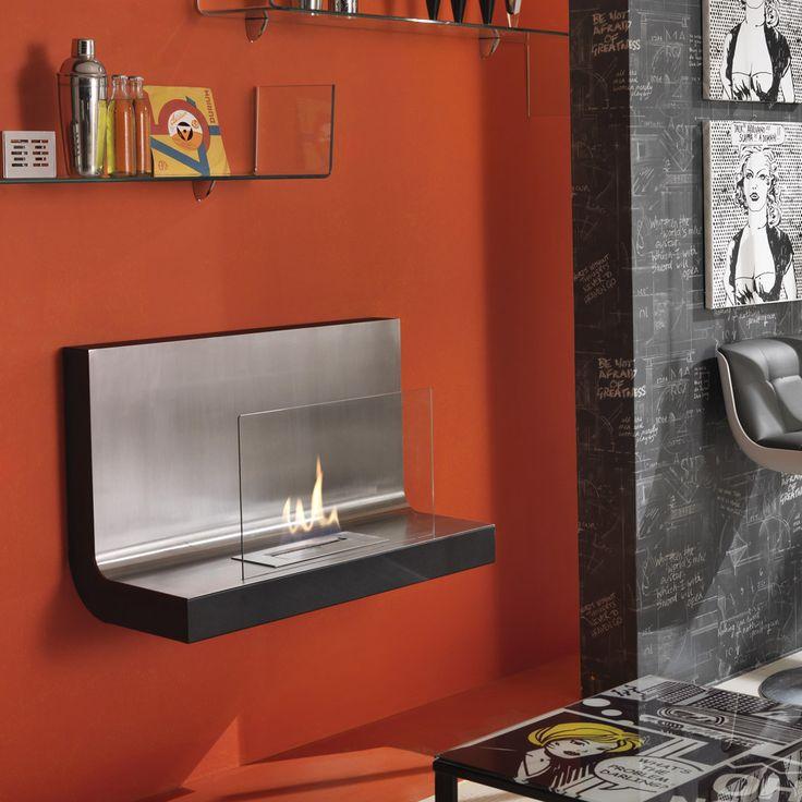 Caminetto a bioetanolo da muro o da appoggio in metallo verniciato nero e acciaio satinato con vetro temperato Bruciatore da 1,5l e strumento di controllo della fiamma Misure: 80cmx35cm h.50cm
