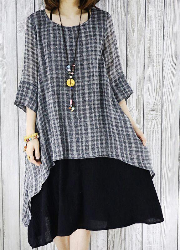 black layered flowy cotton sundress plus size summer dresses