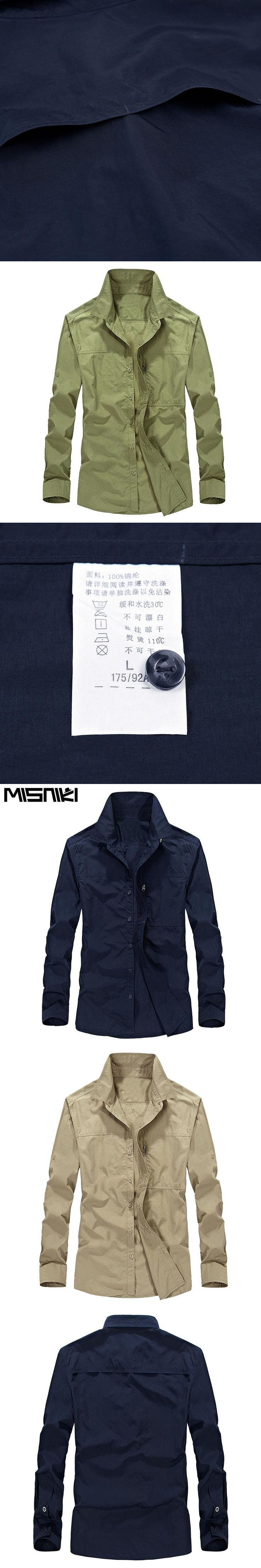 MISNIKI New arrivals fashion men cargo shirts solid color cotton military long sleeve dress shirts M-4XL JPCS06