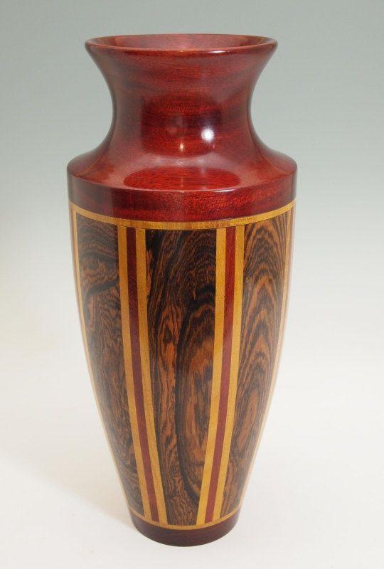 Turned Exotic Wood Segmented Vase