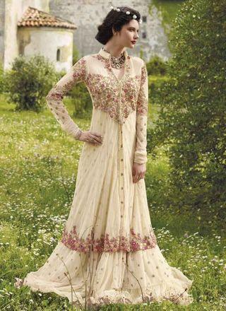 Beautiful Beige Embroidery Booti Work Net Wedding Gown