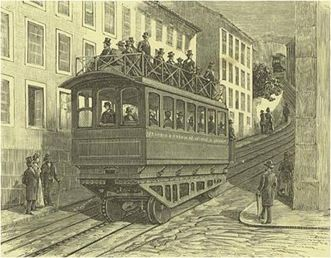 IMPROVEMENTS DELISBOA - the lift of Glory Walk - Photo AMLJ. Christiano drawing 'The West, November 11, 1885.