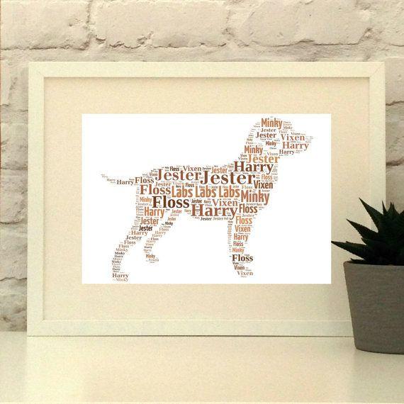 Labrador Retriever Dog Print Custom pet portrait unframed