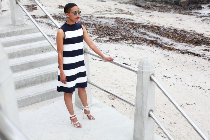 Nautical Style: Dress - ZARA, Sunglasses - Tom Ford, Sandals - Aldo Rise x Misha Noono #zara #tomford #aldo #mishanoono