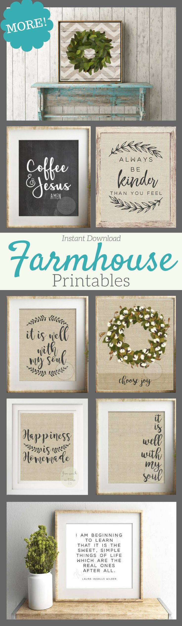 These Fixer Upper style prints would be Joanna Gaines approved! Perfect for a gallery wall or farmhouse kitchen! #farmhouse #printable #ad #gallerywall #artwork
