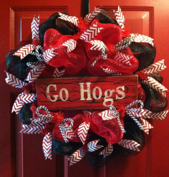 Arkansas Razorbacks Football Mesh Wreath, Hogs, College Football on Etsy, $58.00