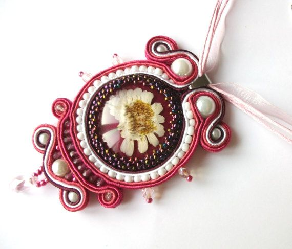 Pinkwhite soutache pendant  Real flower necklace  Gift by KicsiYu