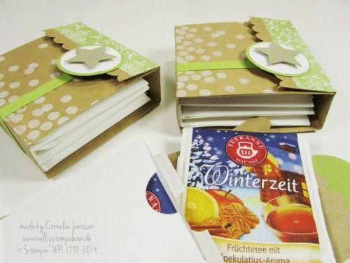 Mein kreativer Sonntag: Teebeutelbuch mit Anleitung; Stempelset Dotty Angles von Stampin' UP! und Designpapier Stille Nacht.