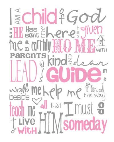 This would love so good in her room, to help remind her she is a daughter of the King :)  I think I would get it printed and the modpodge it on a canvas.