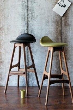 Retro inspired bar stool designed by Danish Erik Buch.