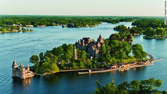 Boldt Castle on Heart Island in Alexandria Bay, New York, was built at the turn of the 20th century and quickly abandoned after the sudden death of George C. Boldt's wife. In the 1970s, the castle became a public attraction. See more photos of the castles