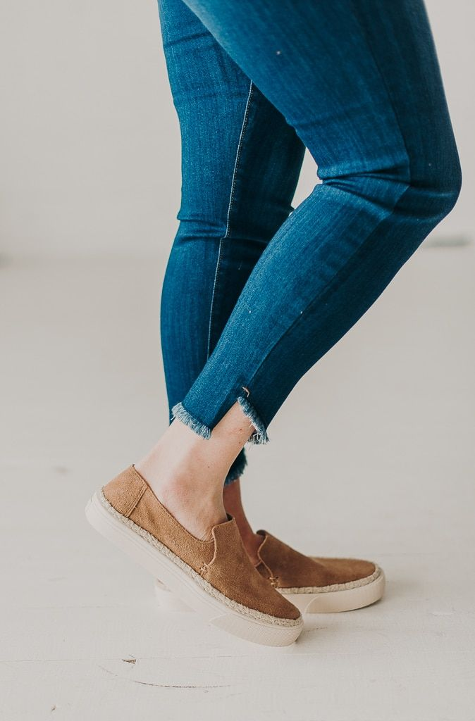 ee444349294 Toms Suede Sunset Slip-Ons- Toffee - Olive Ave