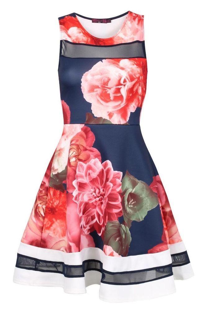 Floral skater dress.BNWT. Size 14 Summer 2016 Celebrity Style | eBay