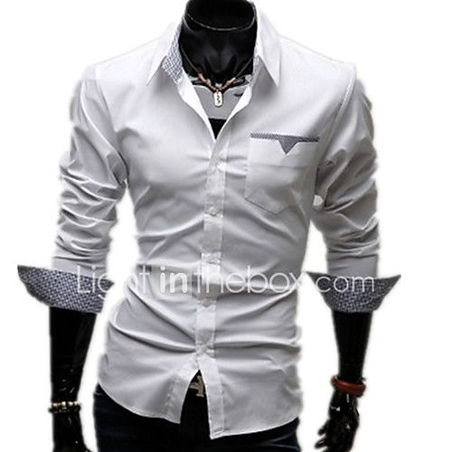 Men's Casual/Daily Work Plus Size Simple Spring Fall Shirt,Solid Classic Collar Long Sleeves Cotton Others 2017 - $8.99