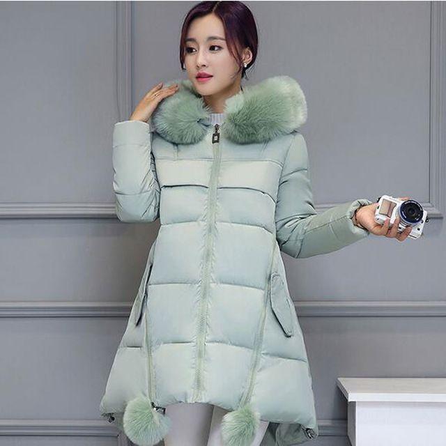 Mulheres Jaqueta de inverno 2016 nova Gola de Pele Do Falso Com Capuz Para Baixo Parka Feminino Engrossar Quente Outwear plus size Jaquetas E Casacos AE1555