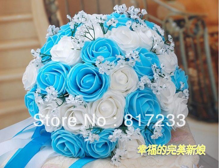 powder blue and red wedding | all'ingrosso- bouquet da sposa legato rosa blu bouquet da sposa con ...