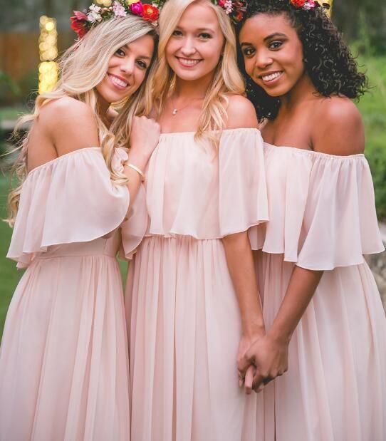 Pastel Pink Ruffles Bridesmaid Dress,Long Chiffon Bridesmaid Dresses,Sweet Long Prom Dresses