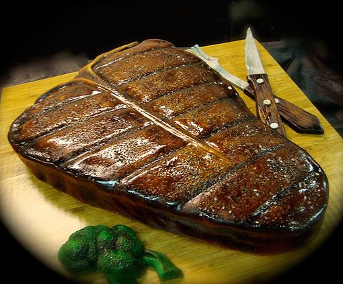 steak cake.....this looks so real, I did a double take!  Great birthday cake idea for the guys in your life!  Daddy would die... :)