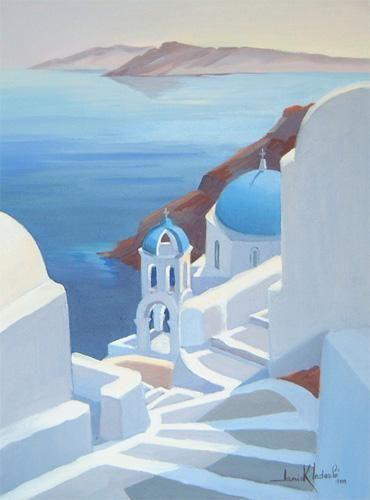 Les Coupoles Bleues De Santorin Janick Lederle Peinture Paysage