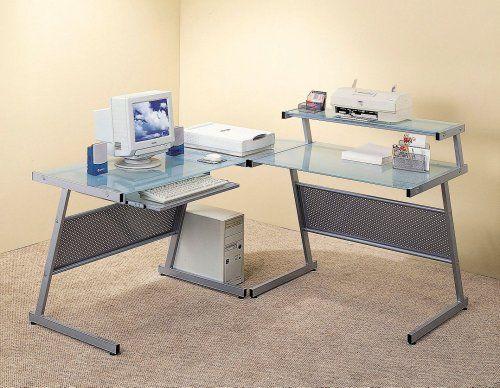 coaster contemporary computer workstation office desk table. Office Furniture · Modern Computer Desk Workstation, Corner Unit \u0026 W/Frosted Glass Top Coaster Contemporary Workstation Table C