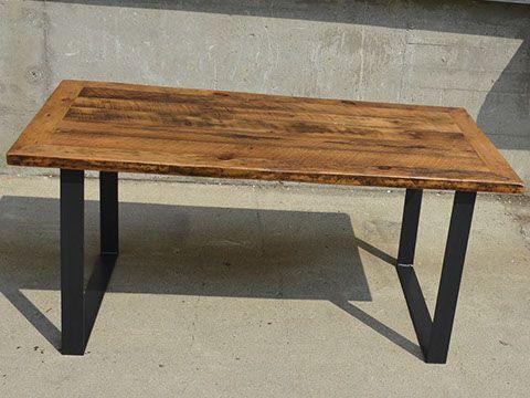 Custom Reclaimed Live Edge Barn Wood Steel Metal Flat Square X Table + Furniture Kitchener Toronto Guelph Hamilton