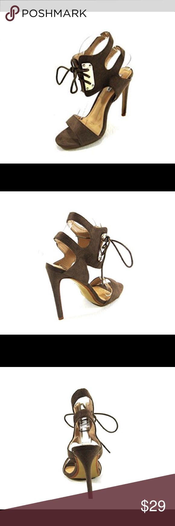 NWOB Cape Robbin Alza Women's Open Toe Sandal Cape Robbin Alza Women's Open Toe High Heel Faux Suede Sandal, Ankle Lace-up Band, Wide Toe Strap, Size 8, Color -Khaki, Heel approximately 4.5 inches Shoes Sandals