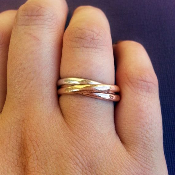 Mixed Metal Russian Wedding Ring Silver Rose Gold