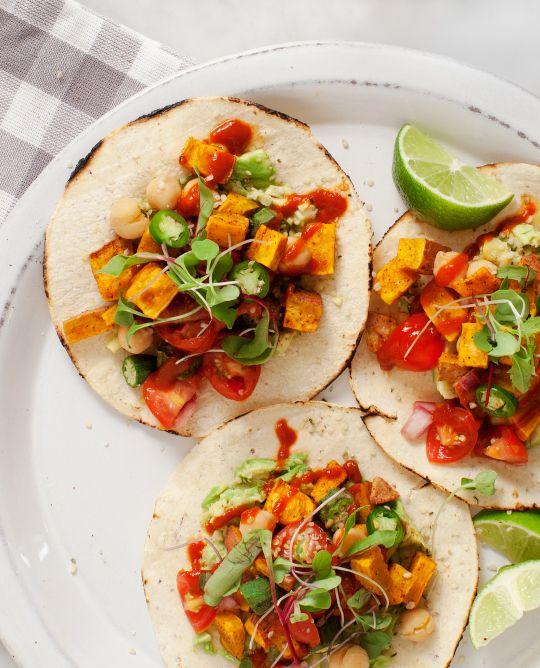 Spicy Sweet Potato Avocado Tostadas (vegan, gluten free) / @loveandlemons