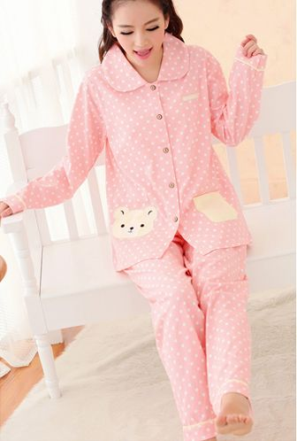 Beary Sweet Polka Dot Print Vintage Pajama Set in Pink/Yellow | Sincerely Sweet Boutique